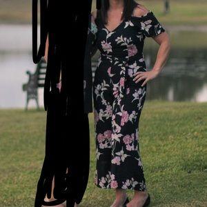 Sienna Sky Jumpsuit. Wide leg, off shoulder size M